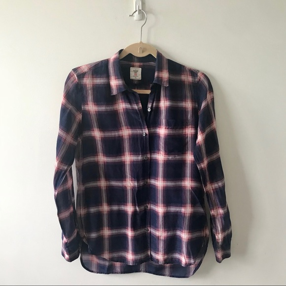 3bd26877 GAP Tops | Boyfriend Button Down Shirt Purple Plaid Silk | Poshmark
